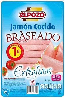 ElPozo Jamón cocido braseado 8 lonchas finas Envase 90 g