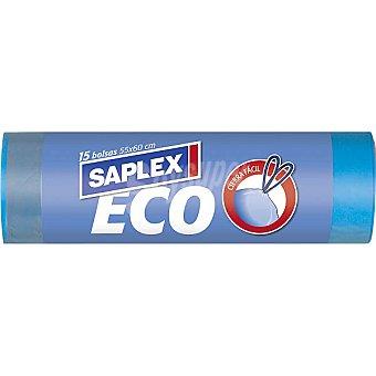 Saplex Bolsas de basura cierrafácil 55x60 eco azul 30 L Paquete 15 bolsas