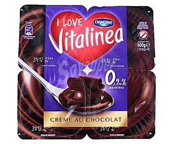 Vitalínea Danone Crema de chocolate 0,9% m.g.  4 unidades de 125 g