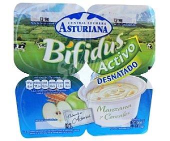 Central Lechera Asturiana Yogur bífidus con manzana-cereales Pack 4 Unidades de 125 Gramos