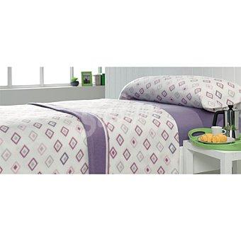 CASACTUAL Juego de cama pirineo con rombos en color malva para cama 135 cm