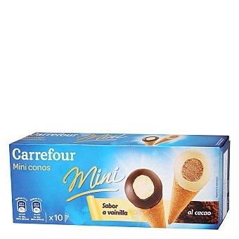 Carrefour Mini conos sabor vainilla y al cacao 10 ud