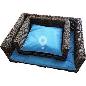 Cama de teflón con cestillo para mascotas color azul talla S medidas 54x46x22 cm