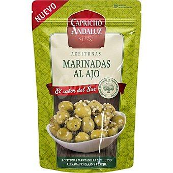Capricho Andaluz Aceitunas manzanilla sin hueso aliñadas con ajo y perejil Bolsa 150 g neto escurrido