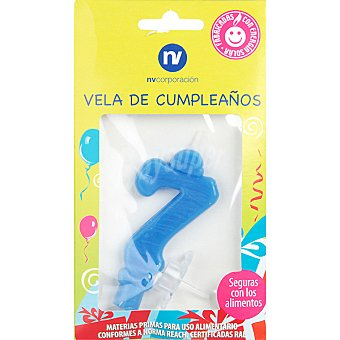 NV. Vela de cumpleaños color azul nº 7 blister 1 unidad