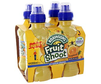 Fruit Shoot Refresco infantil sabor tropical 4 Unidades de 200 Mililitros