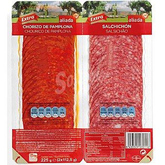 Aliada Chorizo de Pamplona + salchichón en lonchas envase 225 g Pack 2x112,5 g