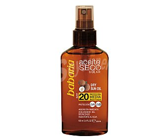 Babaria Aceite solar bronceador seco en spray, con factor de protección 20 (medio) y aroma a coco 100 ml