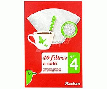 Auchan Filtro cafetera N.4 por 40 unidades auchan 40 unidades