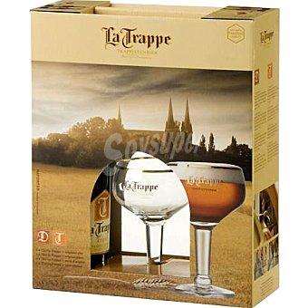 LA TRAPPE cerveza rubia holandesa + Copa de... estuche 2 botellas 75 cl