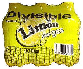 HACENDADO Limón con gas 6% zumo 6 unidades de 330 cc
