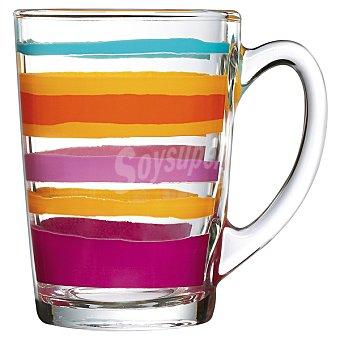 LUMINARC Victoire Mug de vidrio con dibujo de rayas de colores 32 cl 32 cl