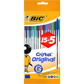 BIC Cristal Original  bolígrafos en distintos colores pack 15+5