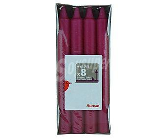 AUCHAN Velas decorativas de 180x19 milímetros, de color fucsia Pack de 8 Unidades