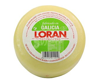 Loran Queso madurado de vaca graso (querso Gallego) 700 gramos aproximados