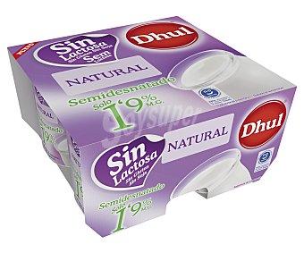 Dhul Yogur natural sin lactosa semidesnatado 1,9% materia grasa 4 unidades de 120 gramos