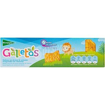 El Corte Inglés Galletas con formas de animales enriquecidas con vitaminas estuche 185 g 6 bolsitas con 3 unidades