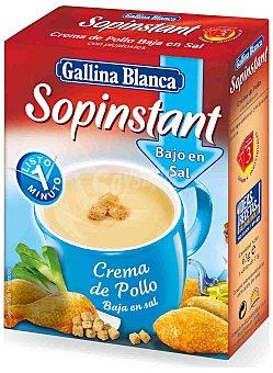 GALLINA BLANCA SOPINSTANT Crema de pollo bajo en sal 3 sobres  estuche de 62 g