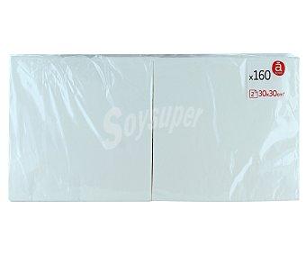 ACTUEL Servilletas blancas de 30x30 centímetros, 2 capas 160 unidades