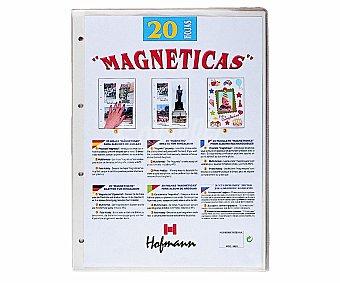 HOFMANN Bolsa de 20 hojas magnéticas de recambio para albumes de fotos de 4 anillas 1 unidad
