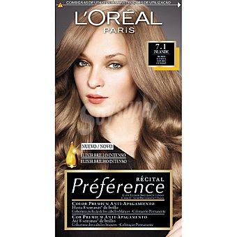 Preference L'Oréal Paris Tinte rubio ceniza nº 7.1 Islande con elixir brillo intenso coloración permanente Caja 1 unidad
