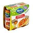 Tarritos de espaguetis con carne y verduras escondidas especial para bebés a partir de 12 meses 2 unidades de 250 gramos Hero Baby