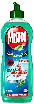 Mistol Lavavajillas a mano concentrado Higiene Total contra grasa e incrustaciones botella 620 ml Botella 620 ml