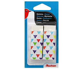 Auchan Lote de 2 gomas de borrar rectangulares, de color blanco y con funda plástica 2u