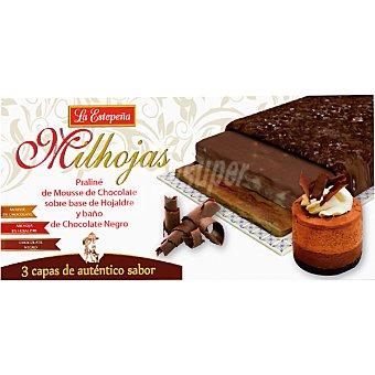 LA ESTEPEÑA Milhojas Praliné de mouse chocolate sobre base de hojaldre y baño de chocolate negro Tableta 200 g