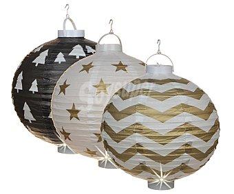 Edelman existencias Colgante de 36x38 centímetros, con forma de lámparas china de papel y con 1 led en su interior )
