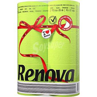 RENOVA Papel higiénico verde 2 capas paquete 6 rollos