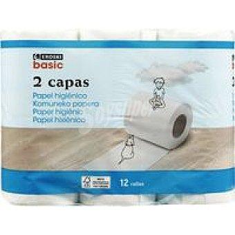 Eroski Basic Papel higiénico 2 capas Paquete 12 rollos