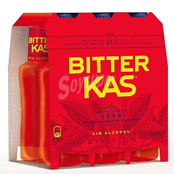 Bitter Kas Refresco amargo sin alcohol Pack 6 botellines x 20 cl