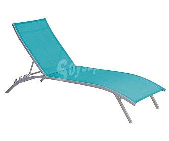 GARDEN STAR Tumbona multiposición para jardín. Fabricada en acero de color blanco y asiento y respaldo de textileno azul 1 unidad