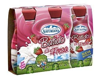 Central Lechera Asturiana Batido con sabor a fresa 3 unidades de 200 mililitros