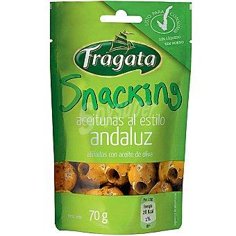 """Fragata Aceituna Manzanilla sin hueso """"ajo y Tomillo"""" cierre ZIP 70 g"""