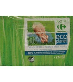 Carrefour Eco Planet Pañal T3 de 4-9 kg 26 ud