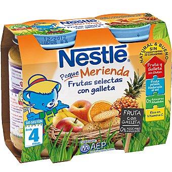 NESTLE PEQUE MERIENDA Tarrito frutas selectas con galleta pack 2x200 g estuche 400 g Pack 2x200 g