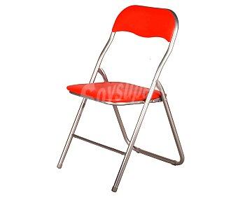 Productos Económicos Alcampo Silla plegable color rojo, medidas: 46x44x81 centímetros y tubo de 22 milímetros 1 unidad