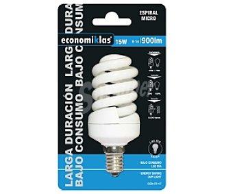 ECONOMIKLAS Bombilla bajo consumo espiral micro 15 Watios, casquillo E14 (fina) y luz fría 1 unidad