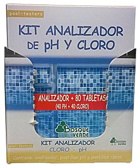 BOSQUE VERDE Piscina kit analizador cloro/PH + Recambio 80 tabletas