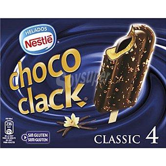 Helados Nestlé Chococlak Bombón helado de vainilla con chocolate almendrado relleno de cacao 4 unidades (360ml)