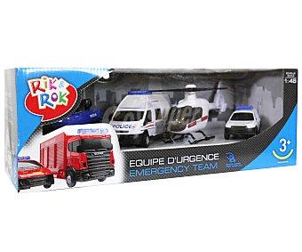 Rik&Rok Auchan Lote de 4 Coches de Emergencias 1 Unidad