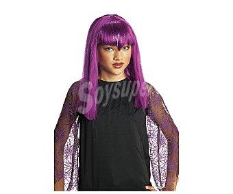HAUNTED HOUSE Peluca color lila, complemento para disfraz de vampiresa, Halloween Peluca vampiresa lila