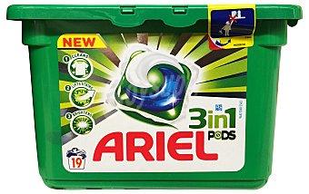 Ariel Detergente lavadora liquido cápsulas 3 en 1 (Limpia quita las manchas e ilumina) Caja de 19 uds