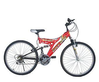 GOLD BIKE Bicicleta de montaña de 26 pulgadas, 7 velocidades, doble suspensión y frenos v-brake, modelo Crown 1 unidad