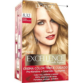 Excellence L'Oréal Paris Tinte Rubio Sofisticado nº 8.32 crema color triple cuidado caja 1 unidad con Pro-keratina + Ceramida + Colágeno Caja 1 unidad