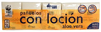 Bosque Verde Pañuelos papel bolsillo compacto 4 capas aloe vera(envase naranja) Pack 10 x 10 u