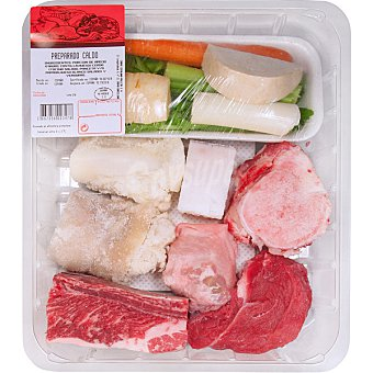 Gourmet Preparado para caldo con morcillo, hueso, tocino ibérico, pata de cerdo y verduras peso aproximado Bandeja 850 g