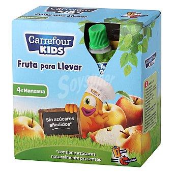 Carrefour Kids Compota de manzana Pack de 4 unidades de 90 g